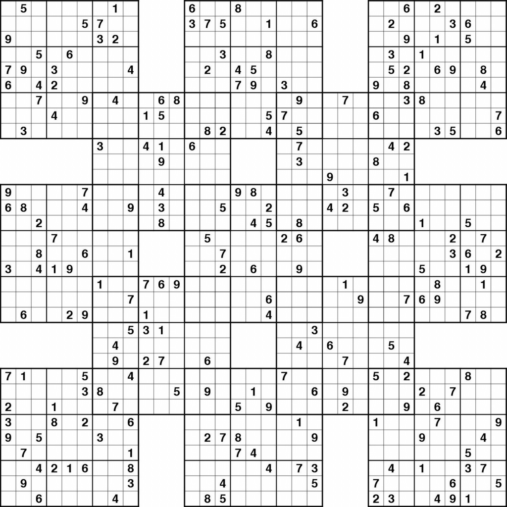 Free Printable Samurai Sudoku Puzzles | Spellen - Sudoku Puzzles - Free Printable Samurai Sudoku