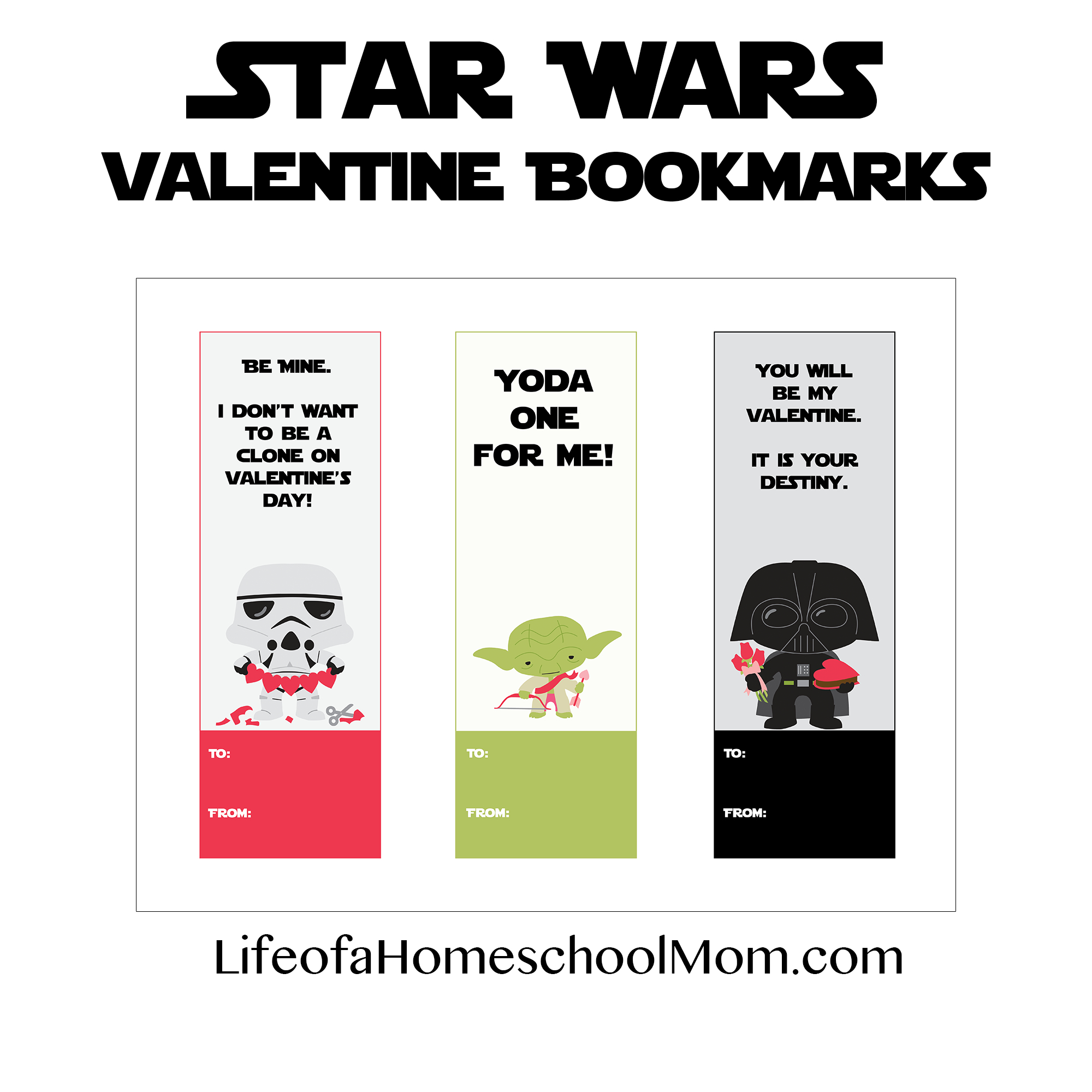 Free Printable Star Wars Valentine Bookmarks - Life Of A Homeschool Mom - Free Printable Lego Star Wars Valentines