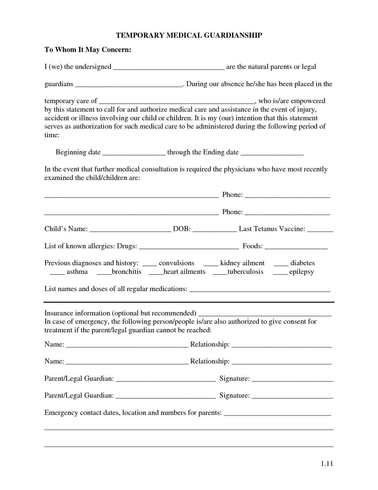 Free Printable Temporary Guardianship Forms   Forms   Child Custody - Free Printable Temporary Guardianship Form