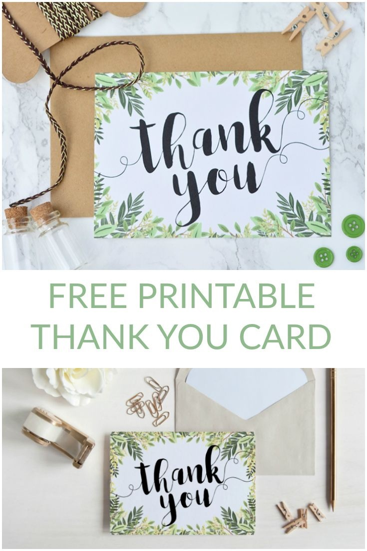 Free Printable Thank You Botanical Inspired Card   Wedding - Free Printable Thank You Cards