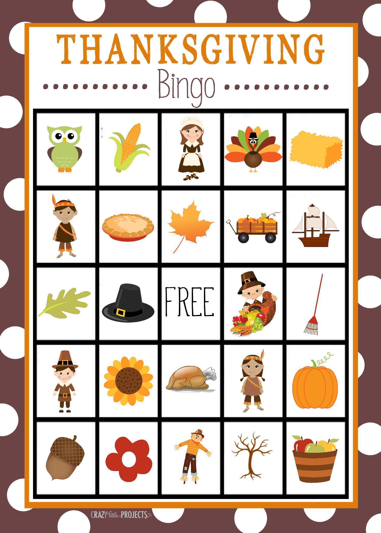 Free Printable Thanksgiving Bingo Game   Craft Time   Thanksgiving - Free Printable Thanksgiving Games For Adults