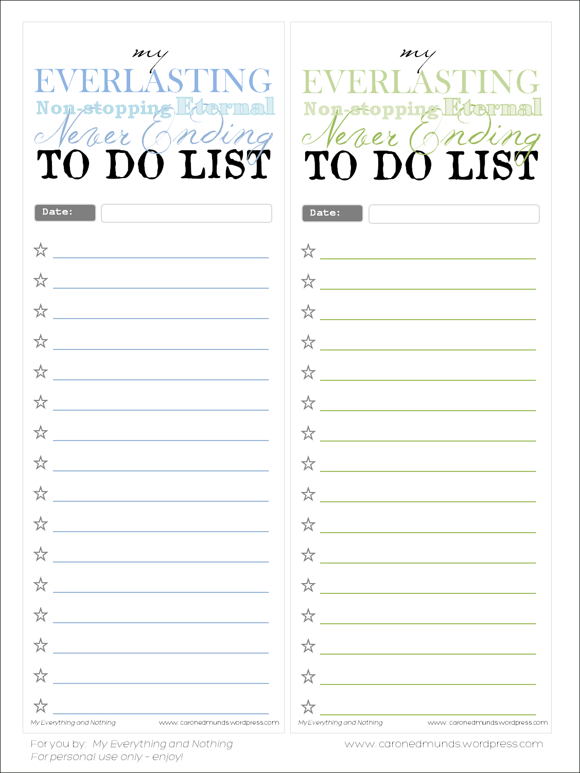Free Printable – To Do Lists | My Everything & Nothing - Free Printable To Do List