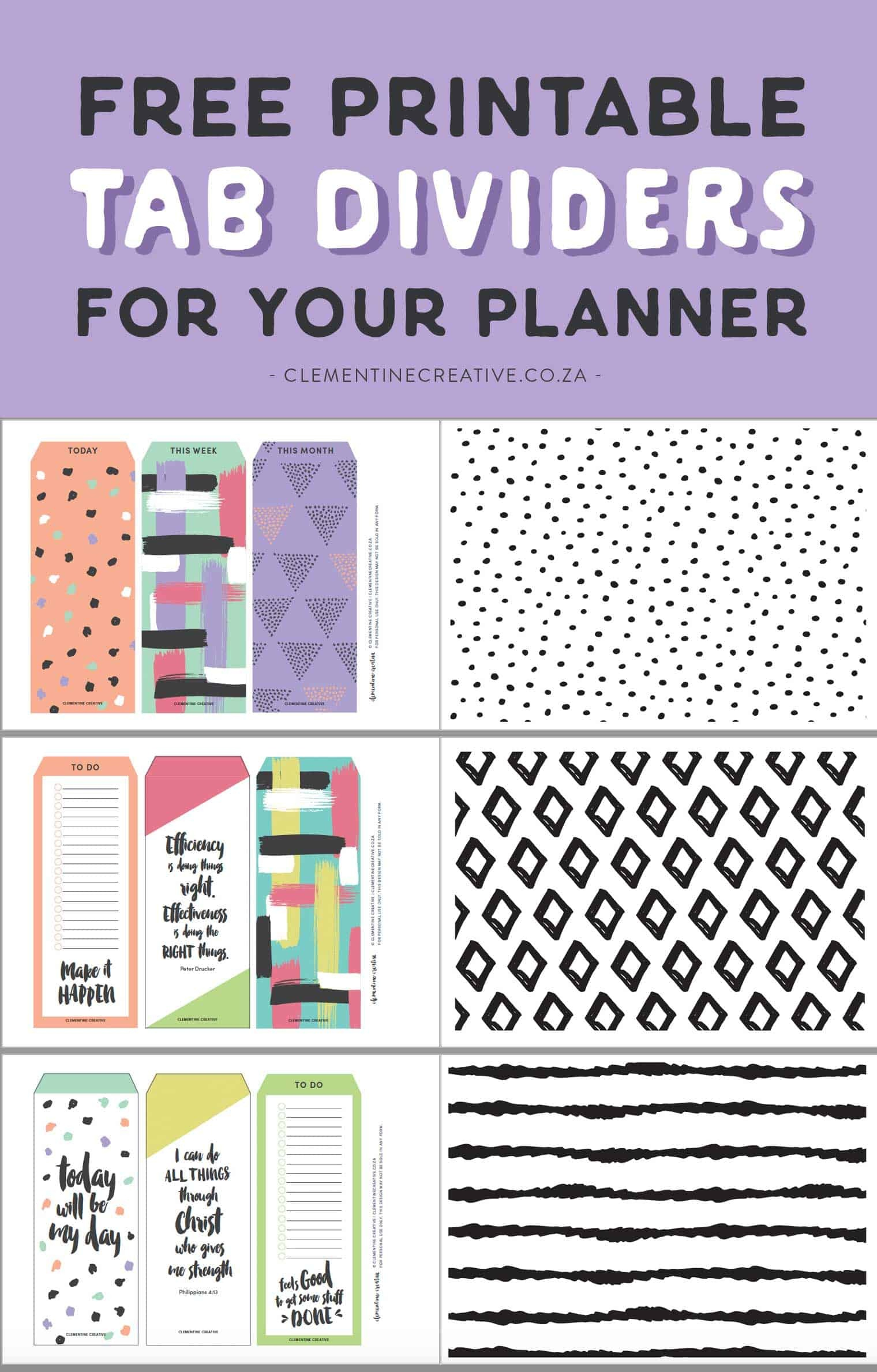 Free Printable Top Tab Dividers For Planners, Diaries And Agendas - Free Printable Dividers