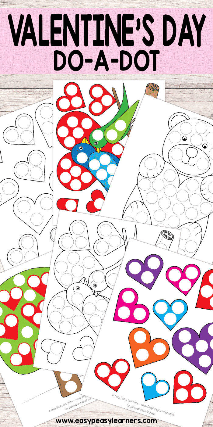 Free Printable Valentines Day Do A Dot Worksheets | Must Do Crafts - Free Printable Crafts For Preschoolers