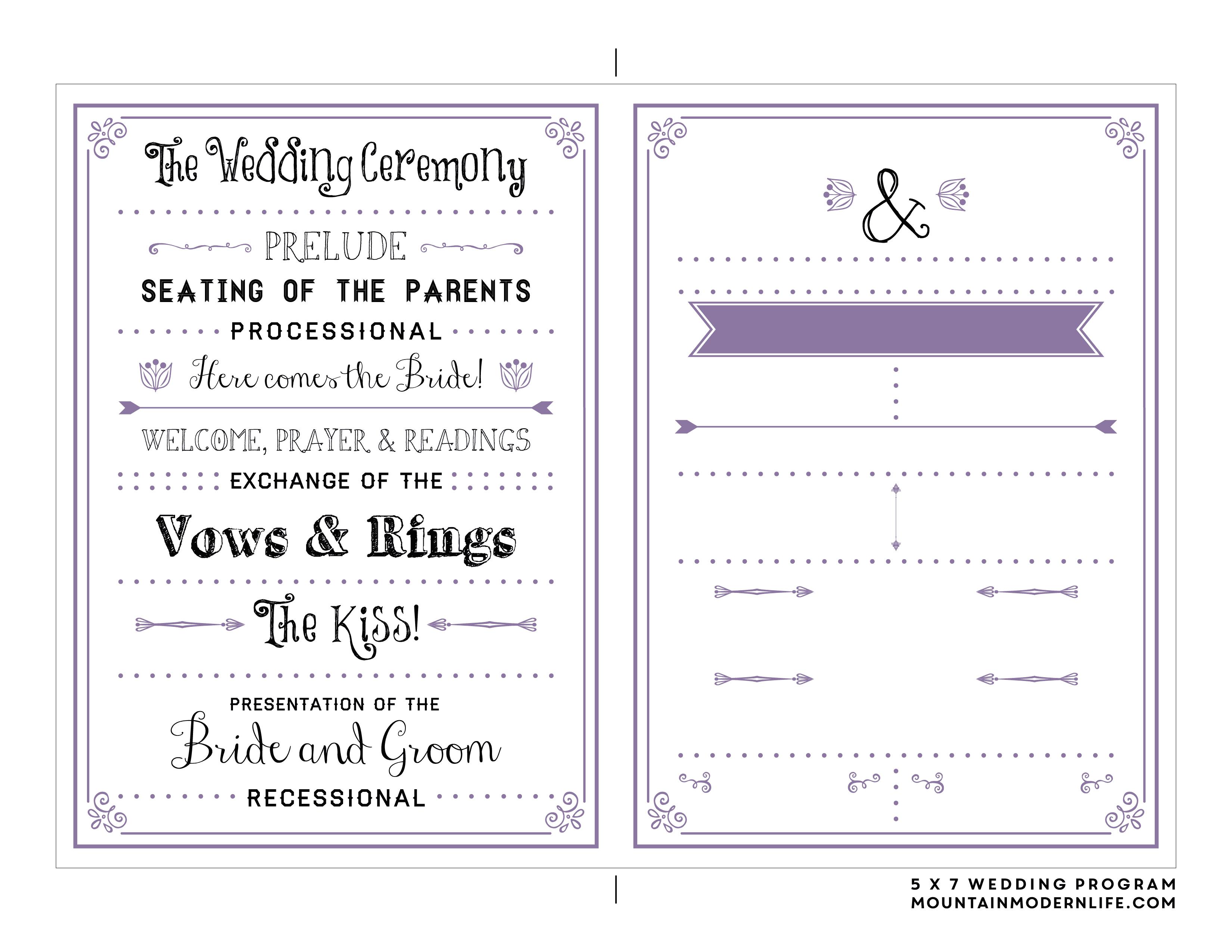 Free Printable Wedding Program   Mountainmodernlife - Free Printable Fan Wedding Programs