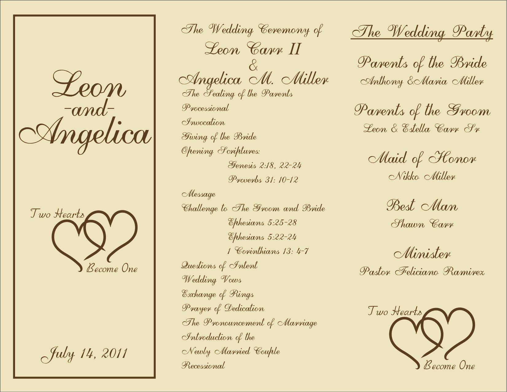 Free Printable Wedding Programs Templates   : Sample Wedding - Free Printable Fan Wedding Programs
