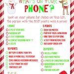 Free Printable! What's On Your Phone Christmas Party Game   What's In Your Cell Phone Game Free Printable