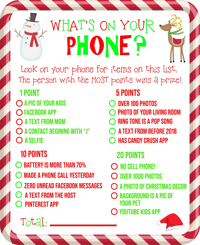 Free Printable! What's On Your Phone Christmas Party Game - What's In Your Cell Phone Game Free Printable