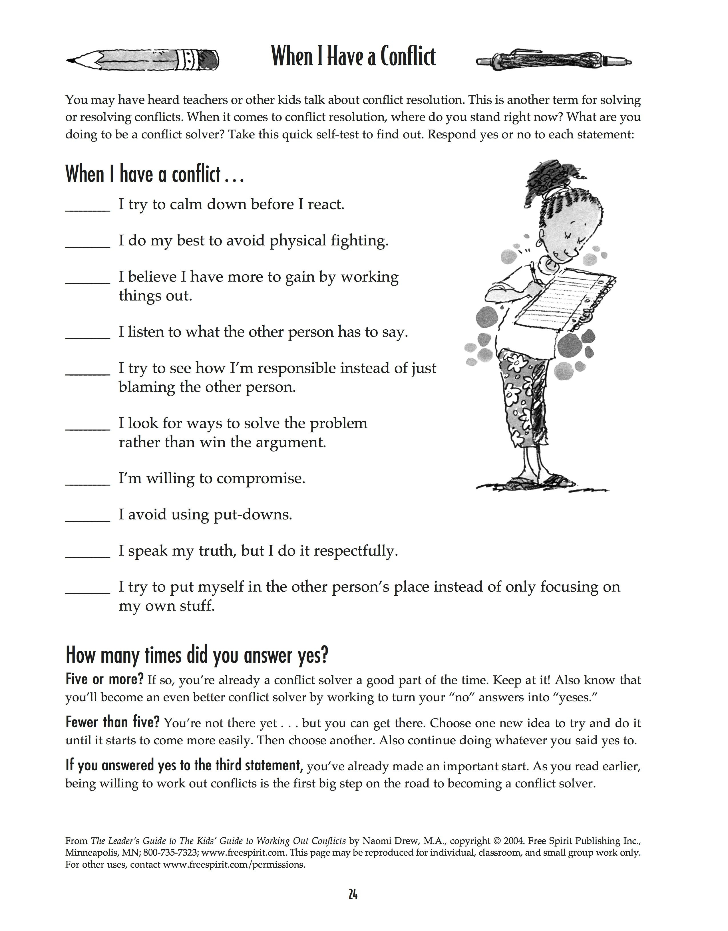 Free Printable Worksheet: When I Have A Conflict. A Quick Self-Test - Free Printable Activities For Adults