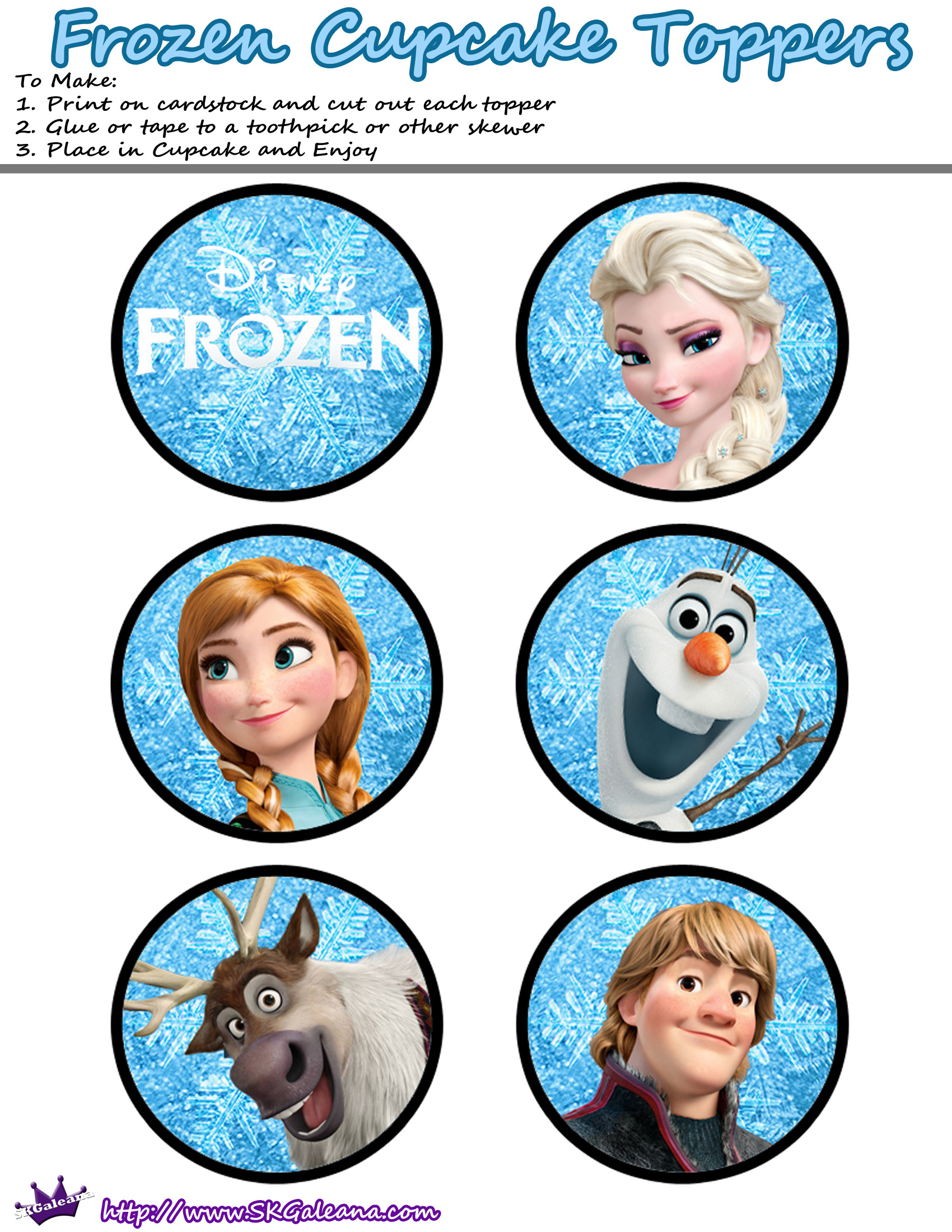 Free Printables For The Disney Movie Frozen   Cake Decorating - Frozen Cupcake Toppers Free Printable