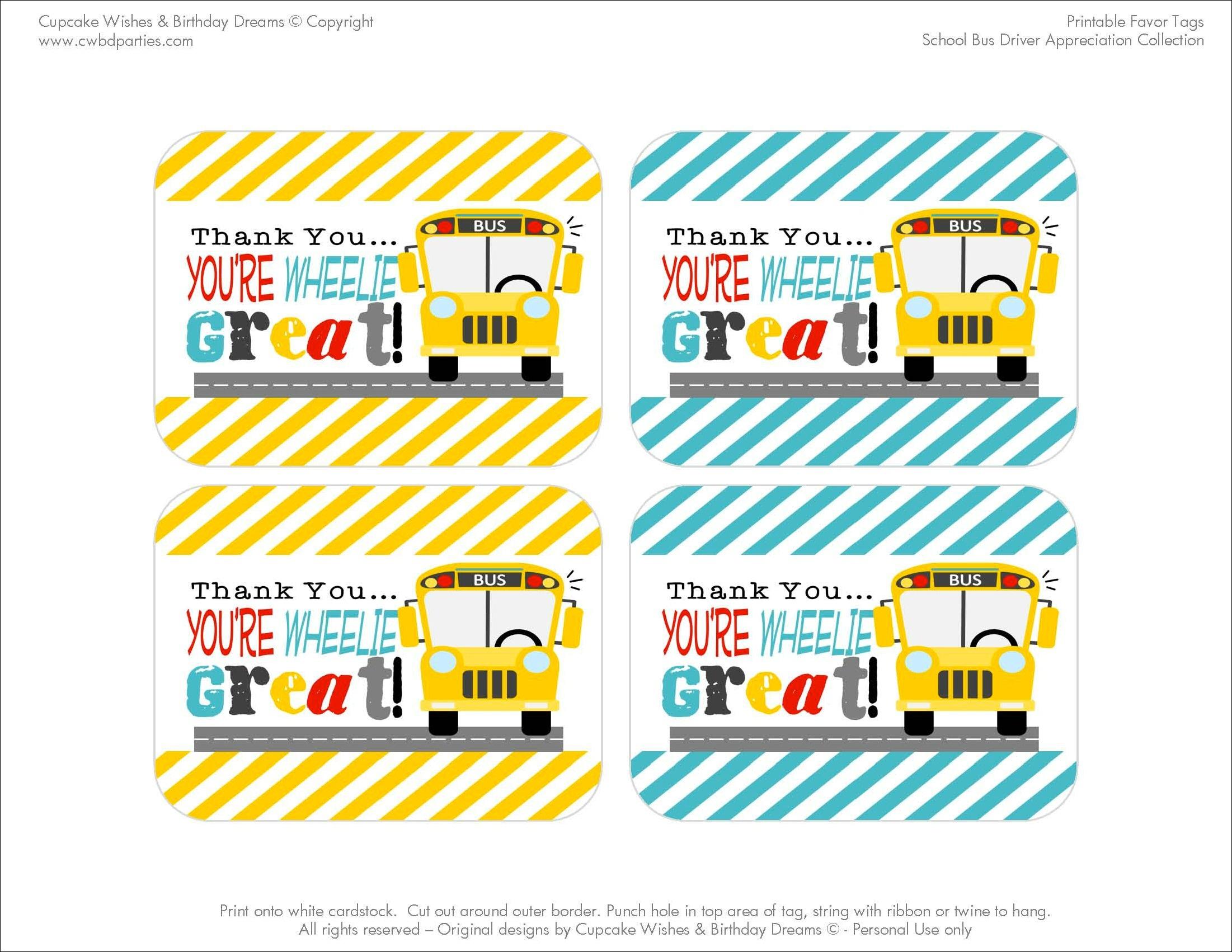 Free Printables: School Bus Driver Appreciation - Free Printable School Bus Template