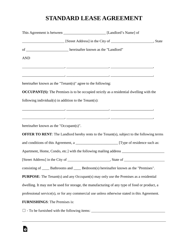 Free Rental Lease Agreement Templates - Residential & Commercial - Free Printable Residential Rental Agreement Forms