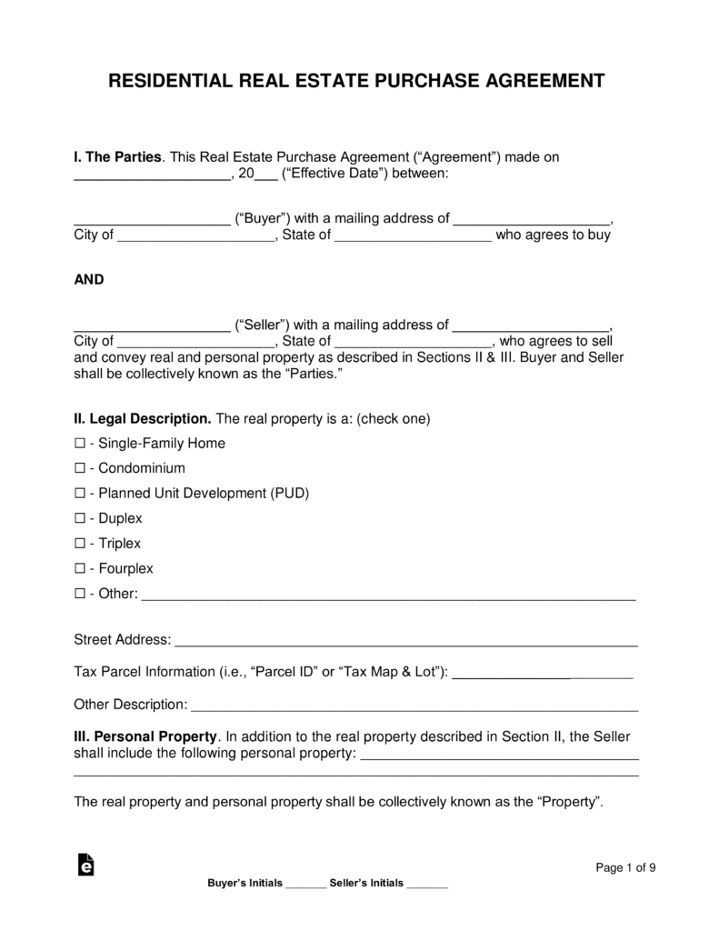 Free Residential Real Estate Purchase Agreements - Word | Pdf - Free Printable Purchase Agreement Template