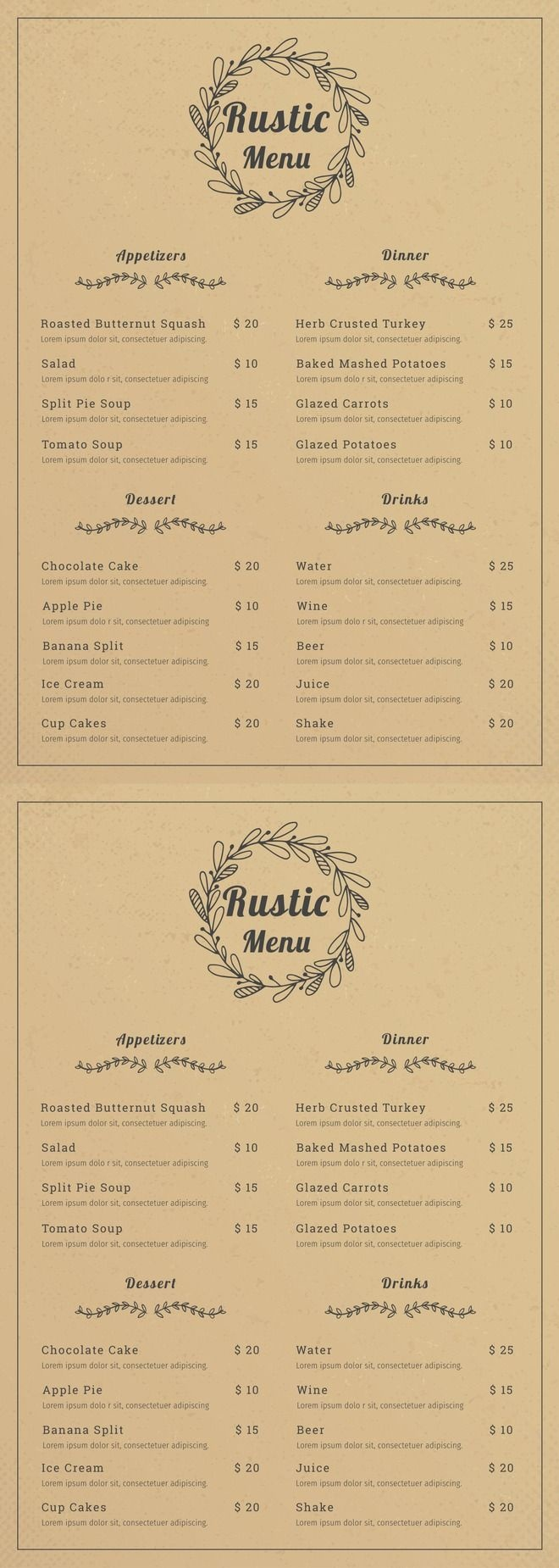 Free Rustic Menu | Cafe | Food Menu Template, Cafe Menu Design - Design A Menu For Free Printable