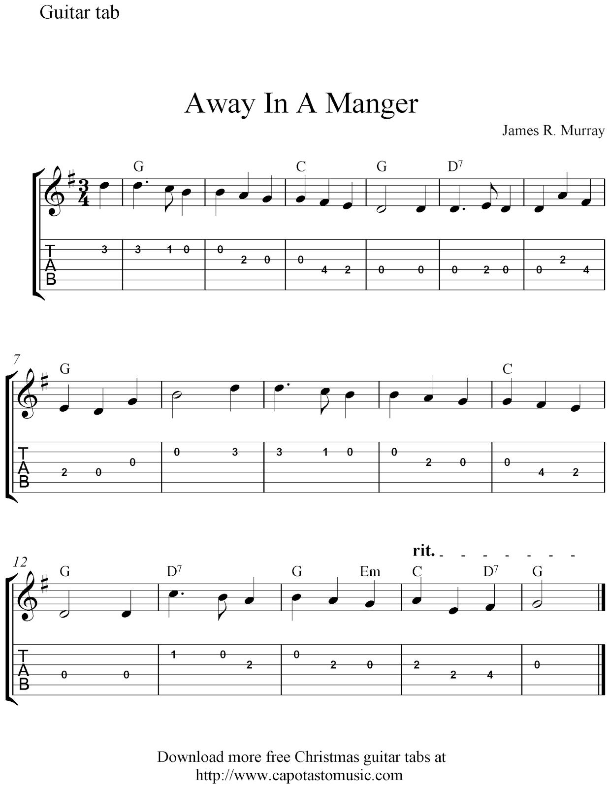 Free Sheet Music Scores: Free Easy Christmas Guitar Tablature Sheet - Free Printable Guitar Music