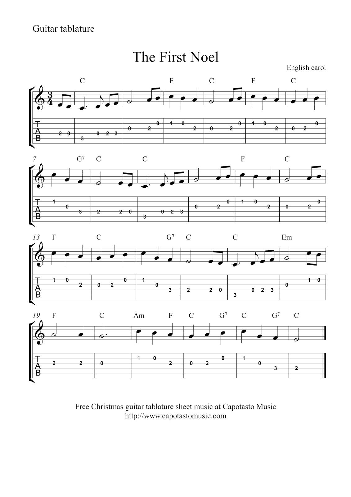 Free Sheet Music Scores: Guitar Tab Christmas | Music In 2019 - Free Guitar Sheet Music For Popular Songs Printable
