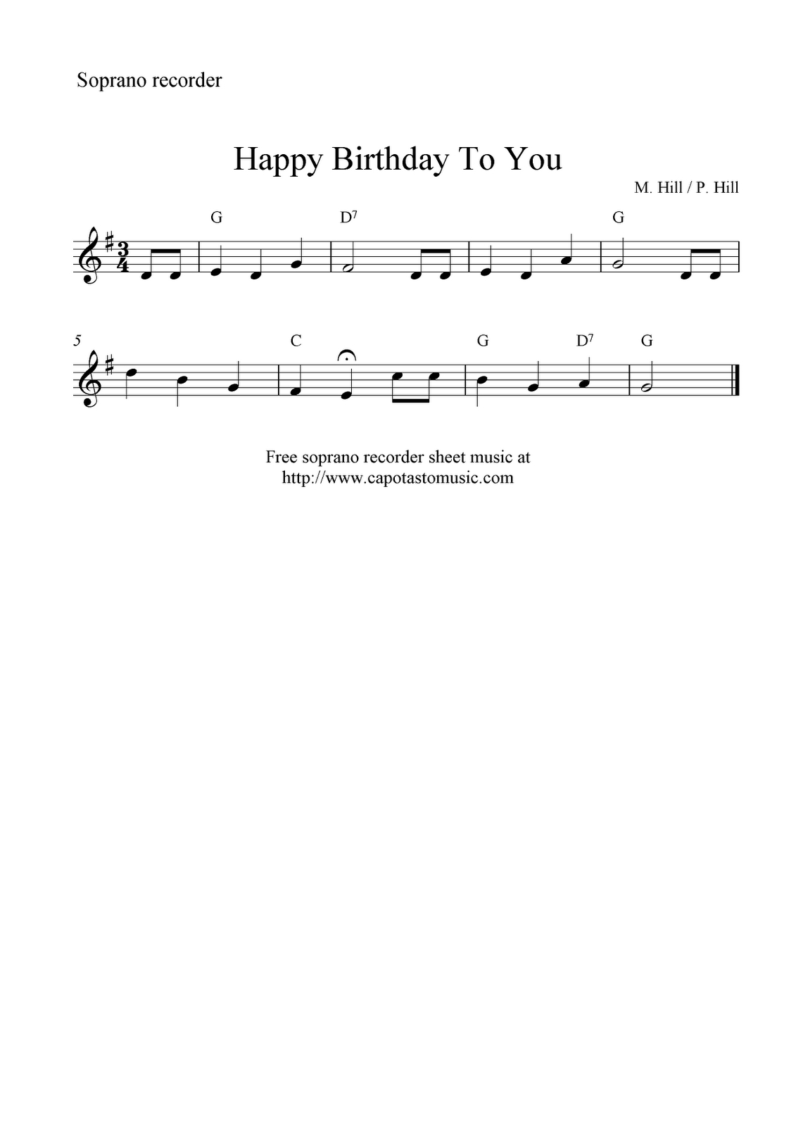 Free Sheet Music Scores: Happy Birthday To You, Free Soprano - Free Printable Recorder Sheet Music For Beginners
