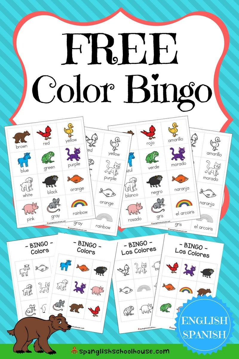 Free Spanish Color Printables {60 Pages Of Color Fun}   Spanglish - Free Printable Spanish Bingo Cards
