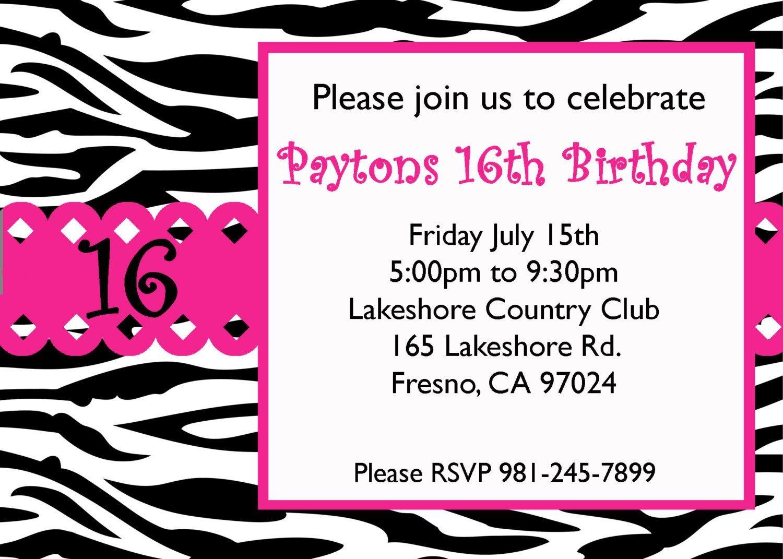 Free Sweet 16 Birthday Invitation Templates   Birthday Ideas - Free Printable Sweet 16 Birthday Party Invitations