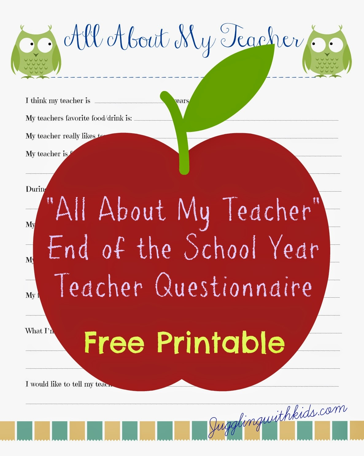 Free Teacher Printable Questionnaire For End Of School Year - All About My Teacher Free Printable