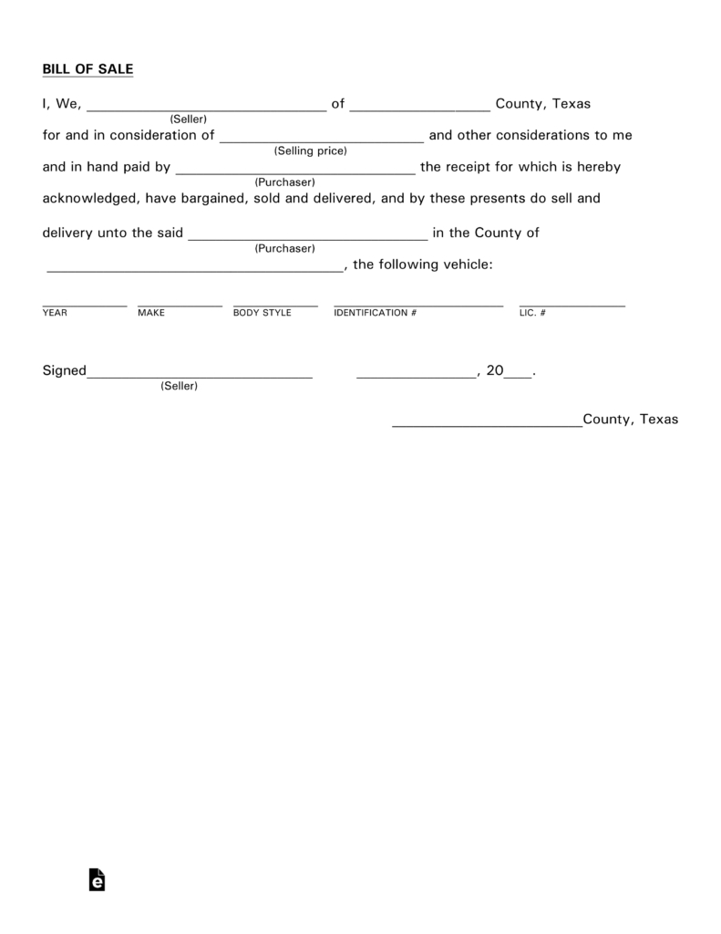 Free Texas Motor Vehicle Bill Of Sale Form - Pdf   Eforms – Free - Free Printable Automobile Bill Of Sale Template