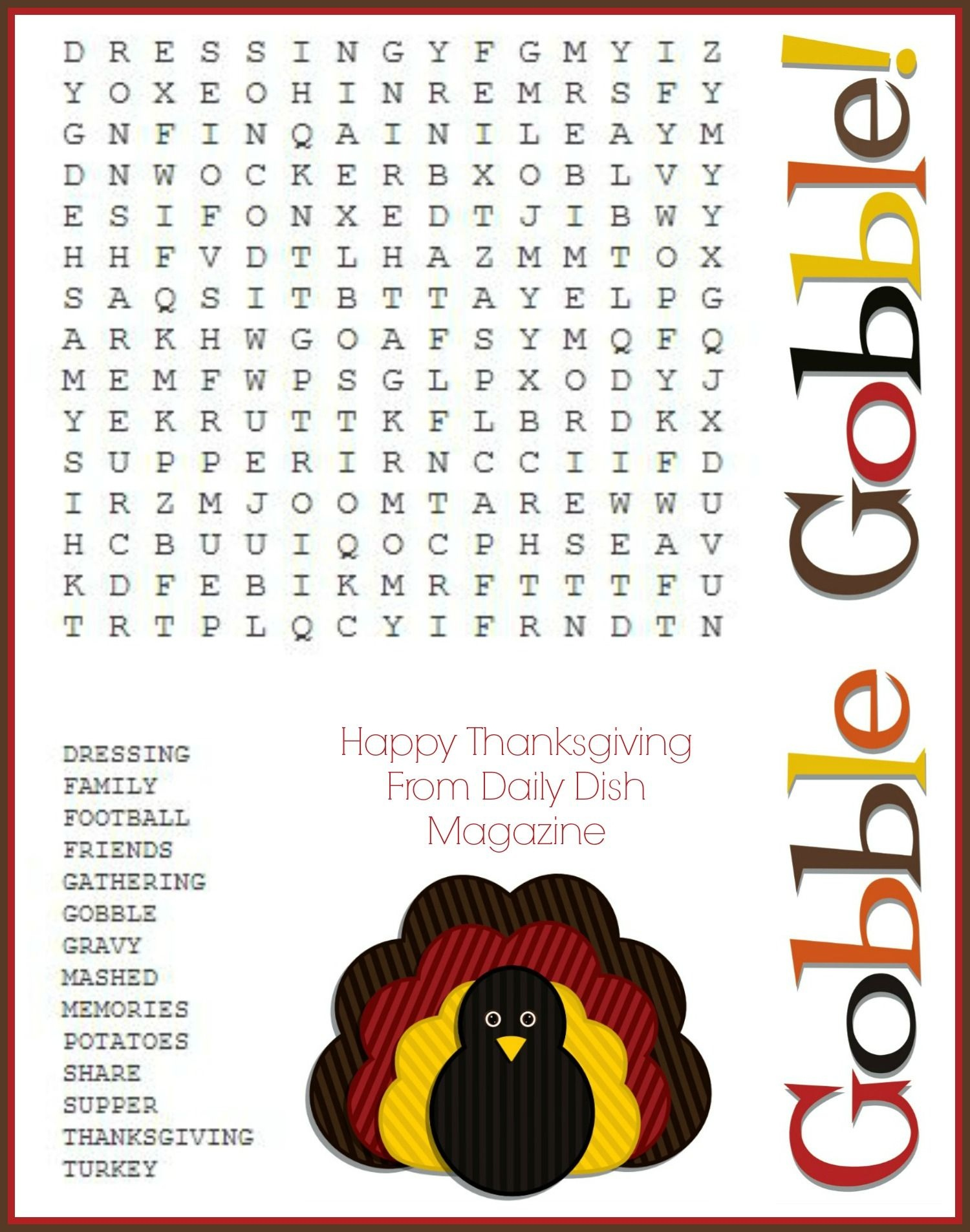 Free Thanksgiving Puzzles ~ Word Search And Maze Printable - Free Printable Thanksgiving Games For Adults
