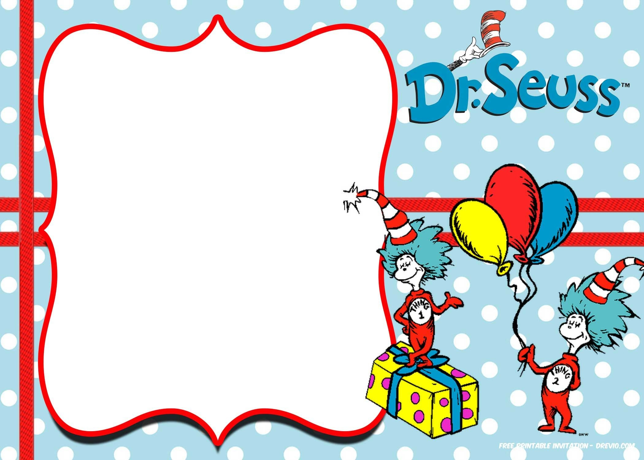Free Thing 1 And Thing 2 Dr. Seuss Invitation   Free Printable - Dr Seuss Free Printable Templates