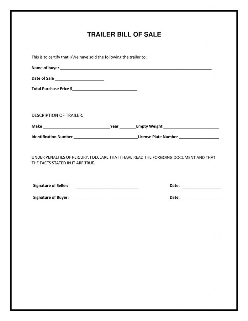 Free Trailer Bill Of Sale Form   Pdf Template   Form Download - Free Printable Bill Of Sale For Trailer