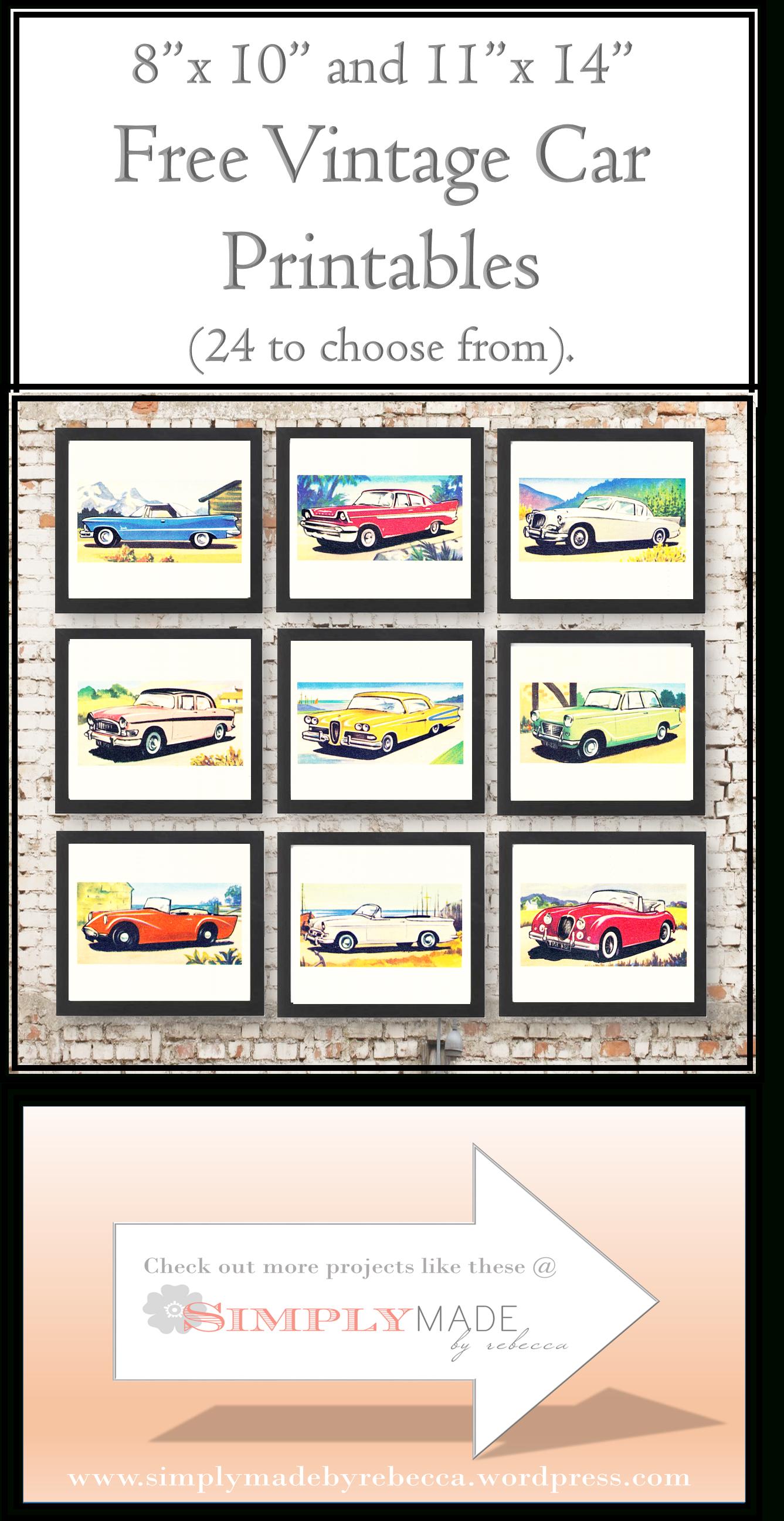 Free Vintage Car Printables   Cards - Downloadable Resources - Free - Free Printable Nursery Resources