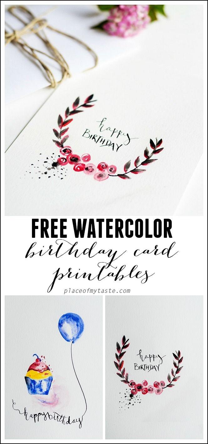 Free Watercolor Birthday Card Printables   Printables   Watercolor - Free Printable Birthday Scrolls
