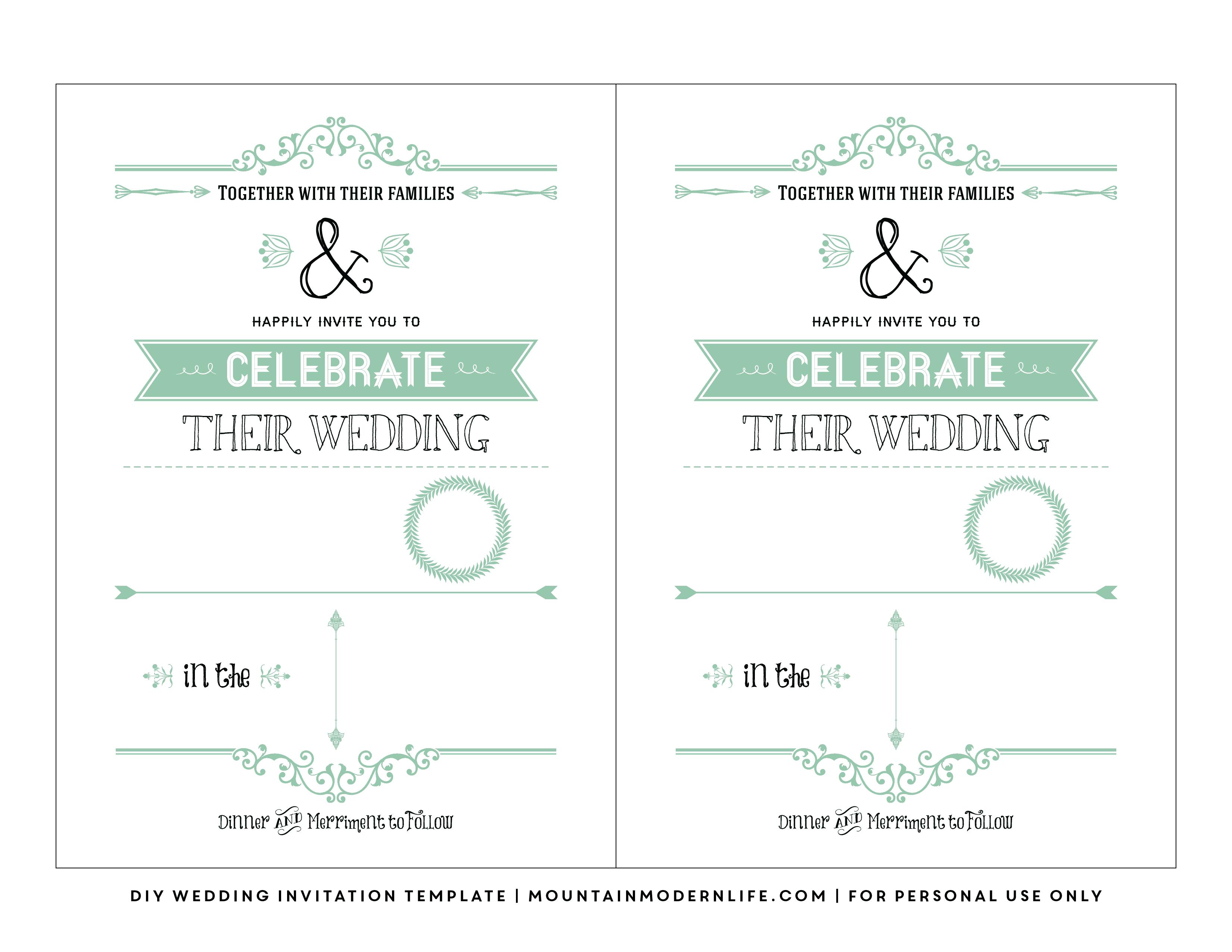 Free Wedding Invitation Template | Mountainmodernlife - Free Printable Wedding Invitations Templates Downloads