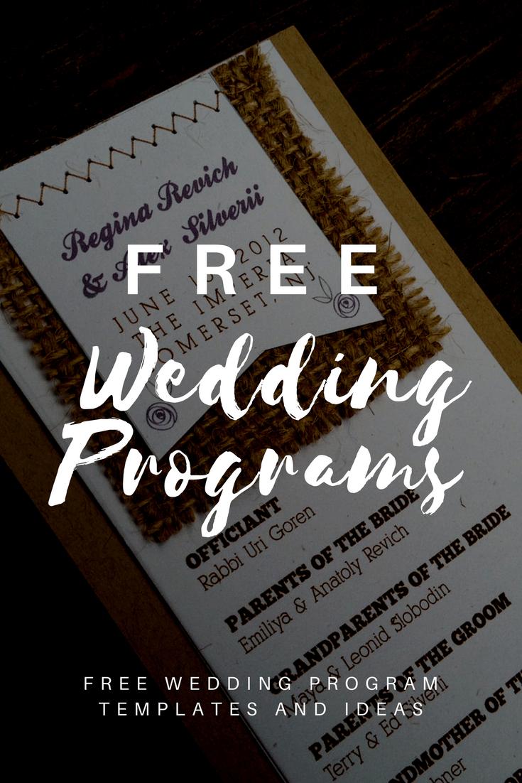 Free Wedding Program Templates   Wedding Program Ideas - Free Printable Wedding Programs