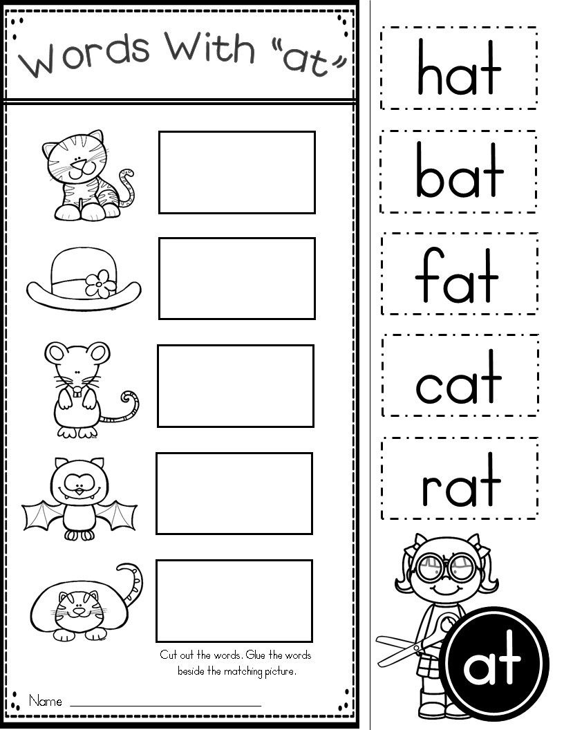 Free Word Family At Practice Printables And Activities   Teaching - Free Printable Cvc Worksheets