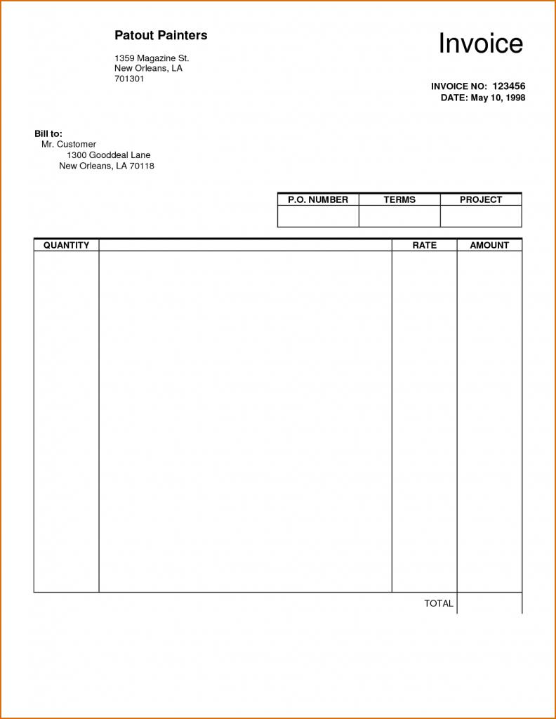 Free Word Printable Invoice Template Uk Blank Sheet Templates Sample - Free Printable Blank Invoice