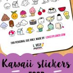 Freebie} Cute Food Stickers For Your Planner   Filofax   Food   Free Printable Kawaii Stickers