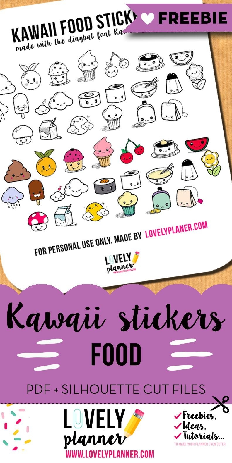 Freebie} Cute Food Stickers For Your Planner   Filofax   Food - Free Printable Kawaii Stickers