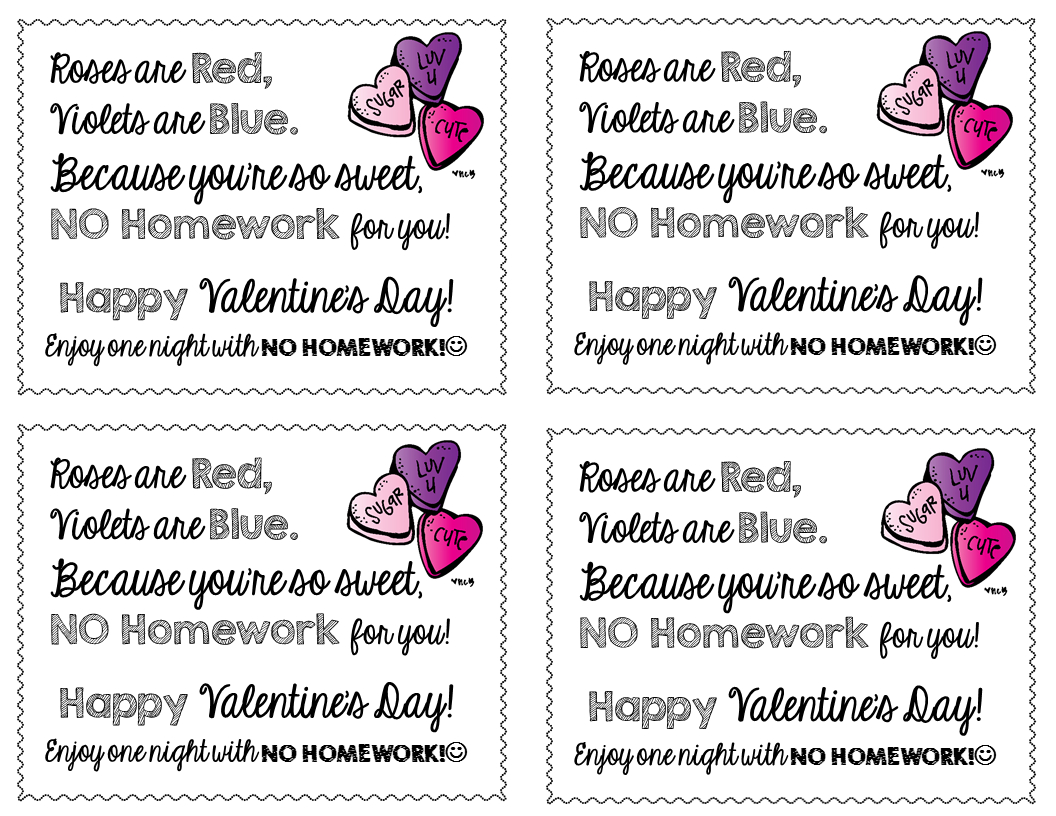 Freebie-Valentine's Day No Homework Passes | Free Products On Tpt - Get Out Of Homework Free Pass Printable