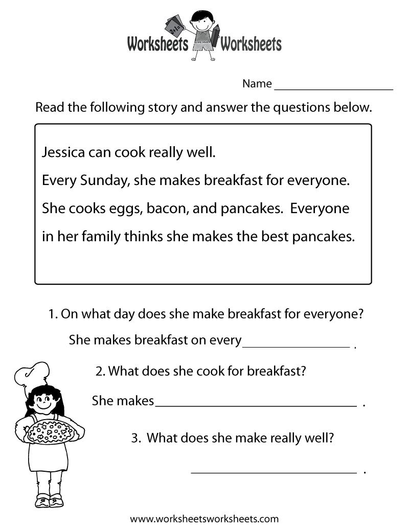 Freeeducation/worksheets For Second Grade    Comprehension - Free Printable Reading Comprehension Worksheets