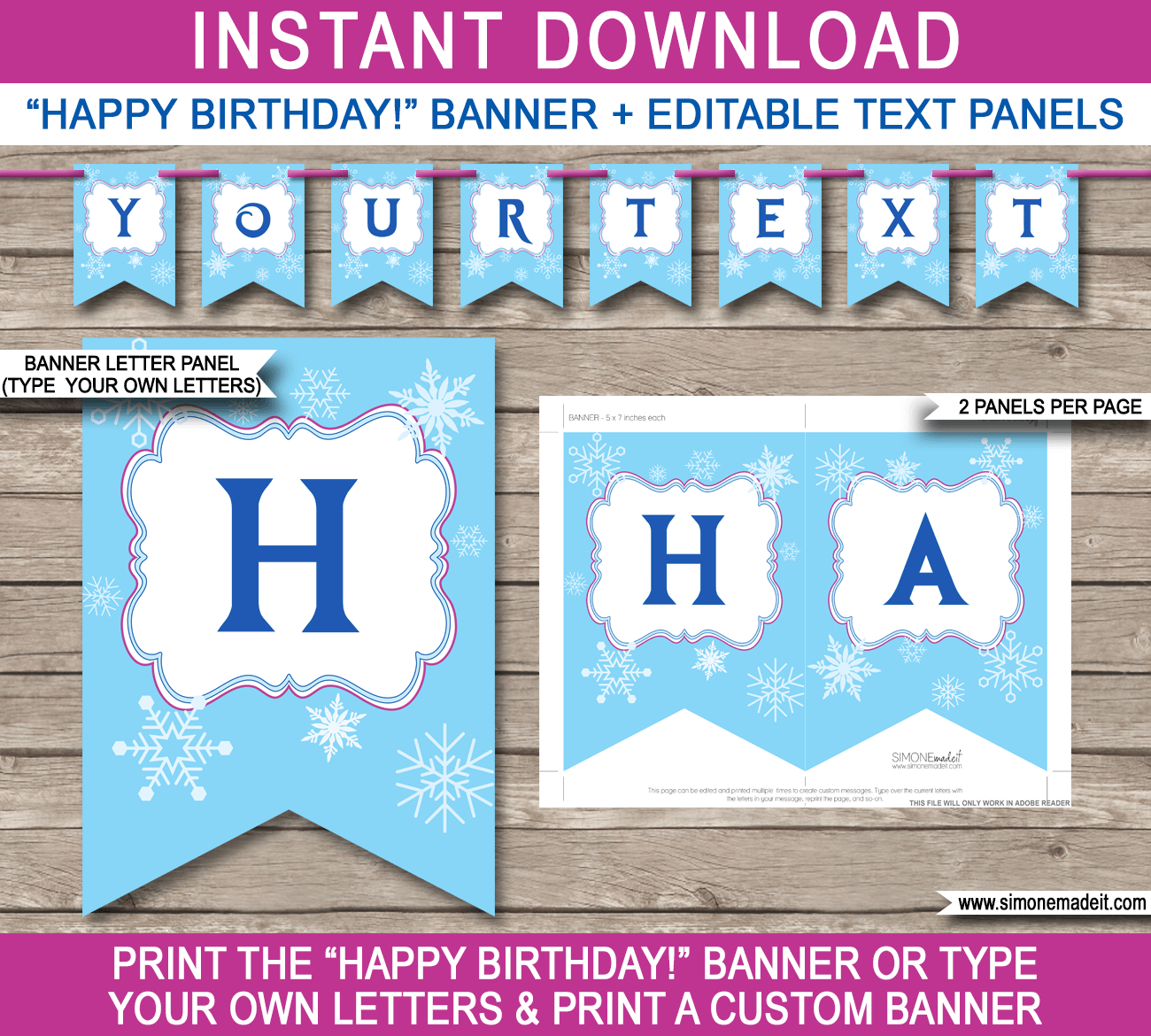 Frozen Party Banner Template | Birthday Banner | Editable Bunting - Frozen Happy Birthday Banner Free Printable