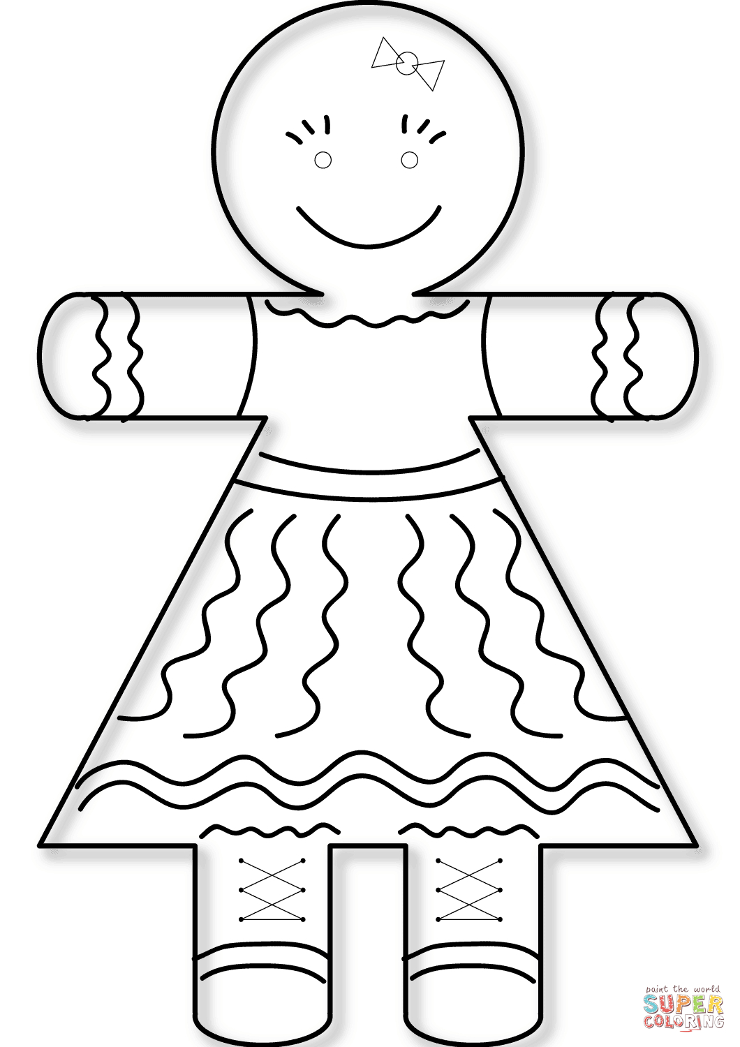 Gingerbread Girl Coloring Page   Free Printable Coloring Pages - Gingerbread Template Free Printable