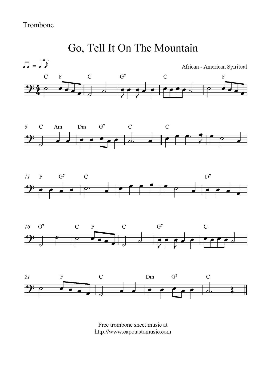 Go, Tell It On The Mountain, Free Christmas Trombone Sheet Music Notes - Trombone Christmas Sheet Music Free Printable