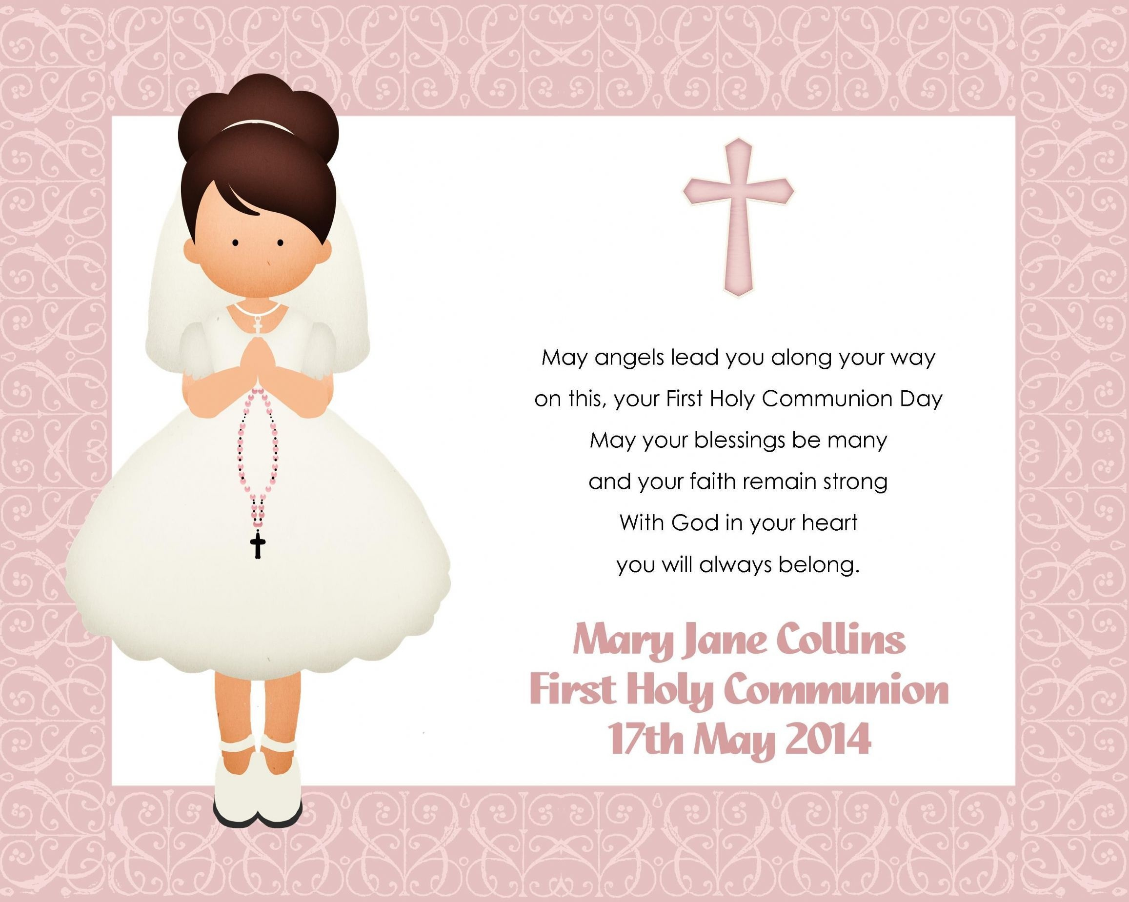 Great Holy Communion Invitation Templates Images Gallery. Green Dove - Free Printable 1St Communion Invitations