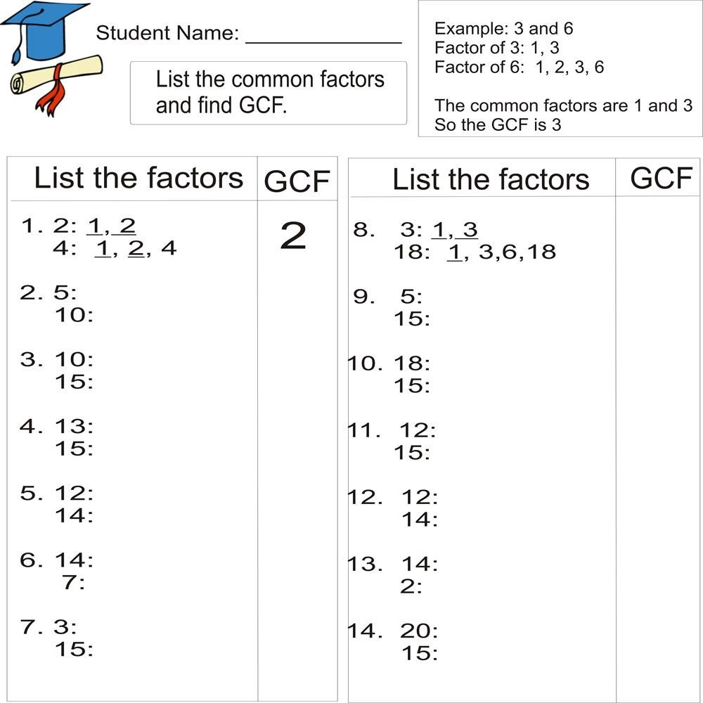 Greatest Common Factor 1To 20 (From Study Village Website. . .great - Free Printable Greatest Common Factor Worksheets