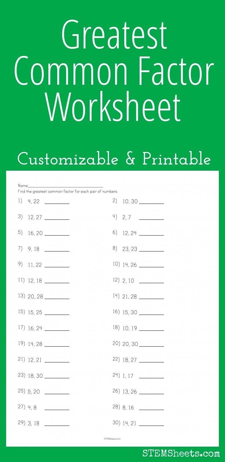 Greatest Common Factor Worksheet - Customizable And Printable | Math - Free Printable Greatest Common Factor Worksheets
