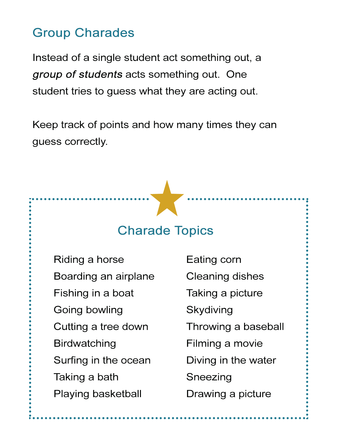 Group Charades Ideas: How To Play Charades With A Large Group - All Esl - Free Printable Recovery Games