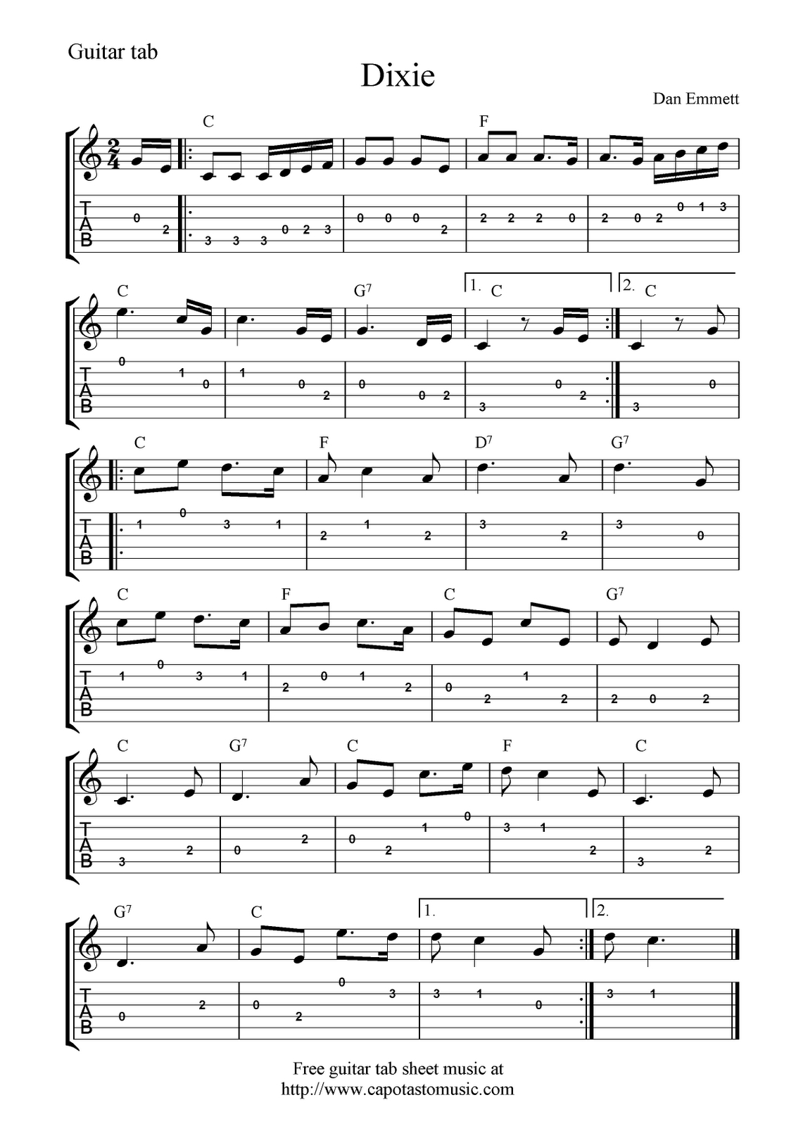 Guitar Music Sheets For Beginners   Free Guitar Tab Sheet Music - Free Printable Guitar Music