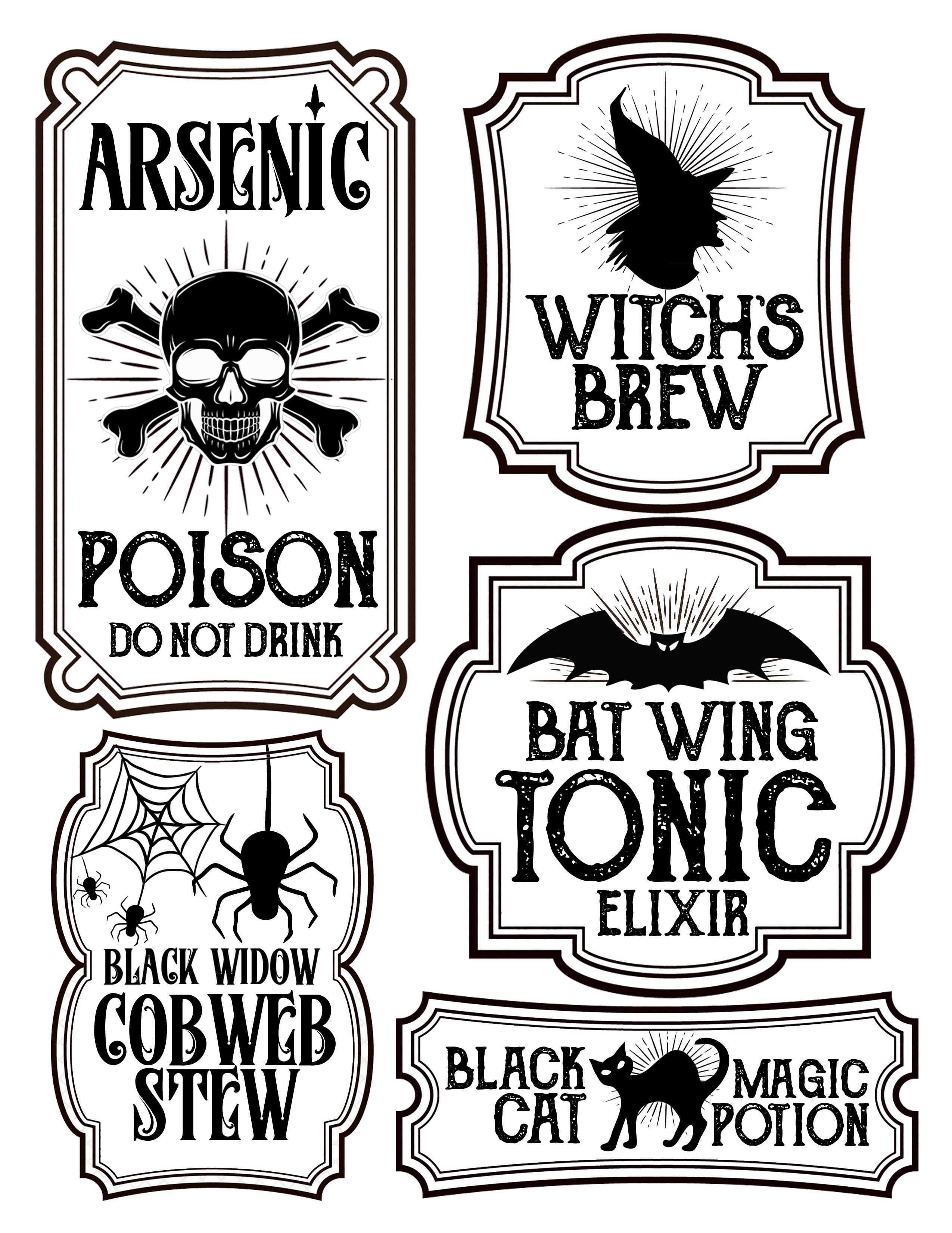 Halloween Bottle Labels - Free Printables - Potions Labels - Free Printable Halloween Bottle Labels
