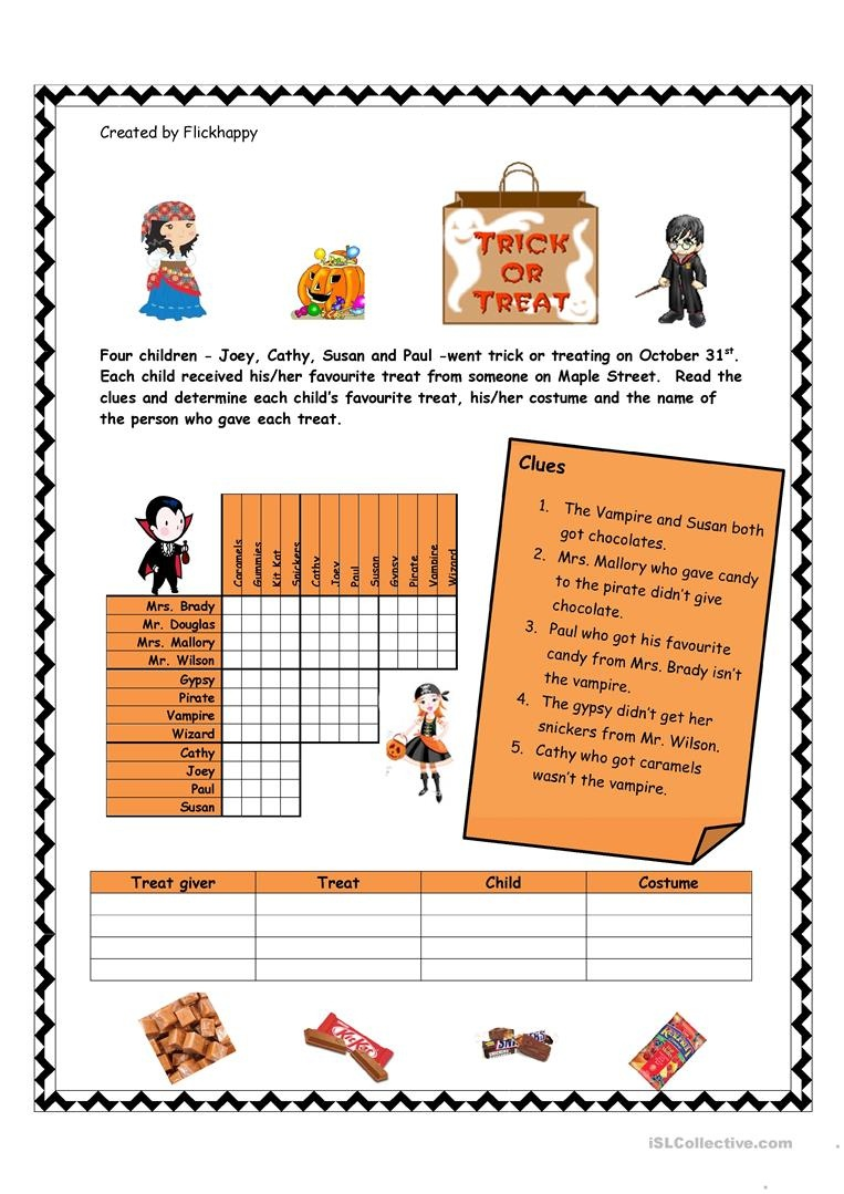 Halloween Logic Puzzle Worksheet - Free Esl Printable Worksheets - Halloween Puzzle Printable Free