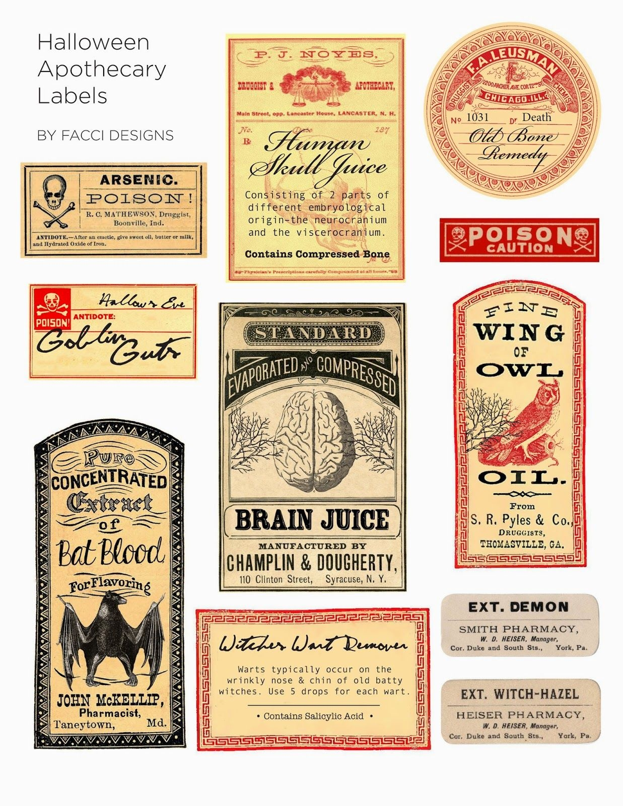 Halloween Love: Spooky Apothecary Labels Free Printable   Halloween - Free Printable Halloween Bottle Labels