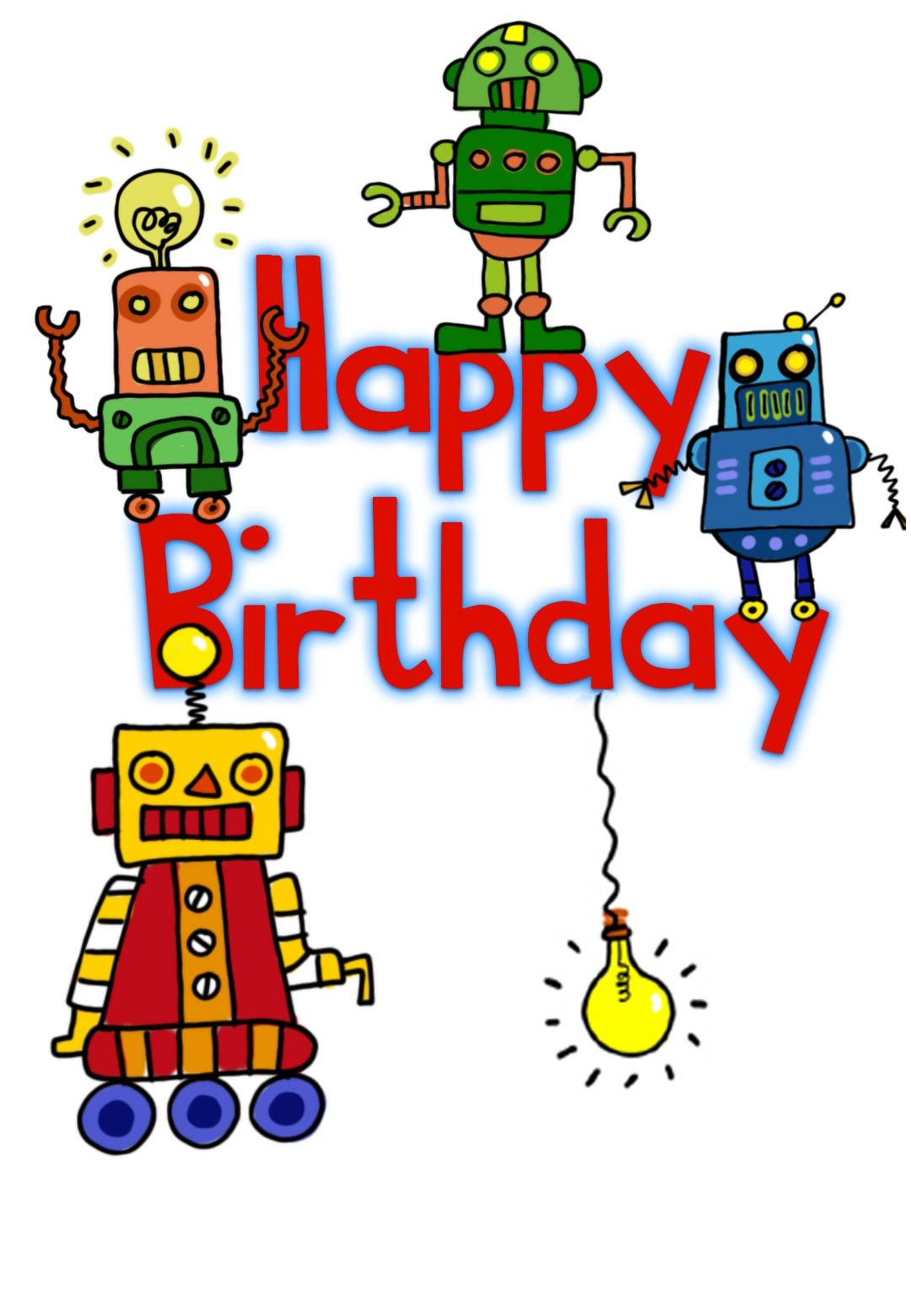 Happy Birthday Robots - Birthday Card (Free) | Greetings Island - Free Printable Kids Birthday Cards Boys